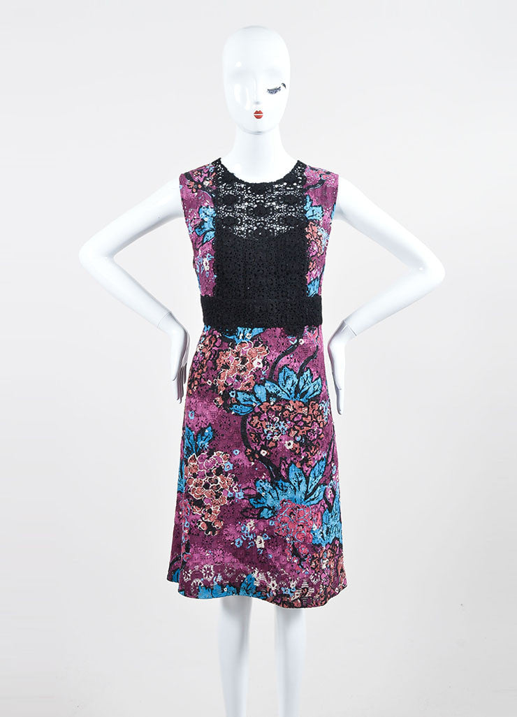 Purple Burberry Prorsum Floral Italian Lace Inset Shift Dress Frontview
