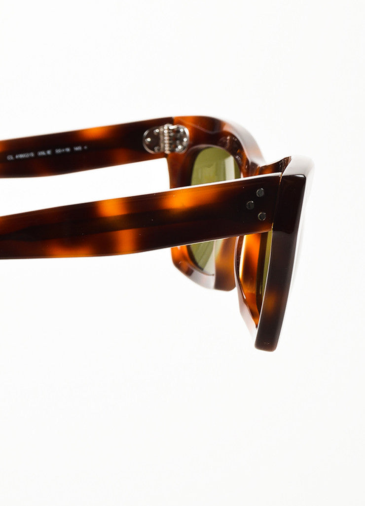 "Celine Brown and Black Tortoise Frame ""Traveller"" Cateye Sunglasses Detail"