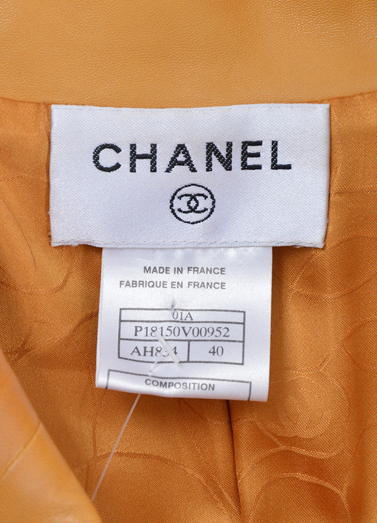 Mustard Yellow Chanel Lambskin Leather Silk Lined Long Belted Jacket  Brand