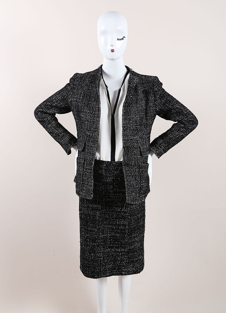 Chanel Black and White Wool Blend Tweed Skirt Suit Frontview