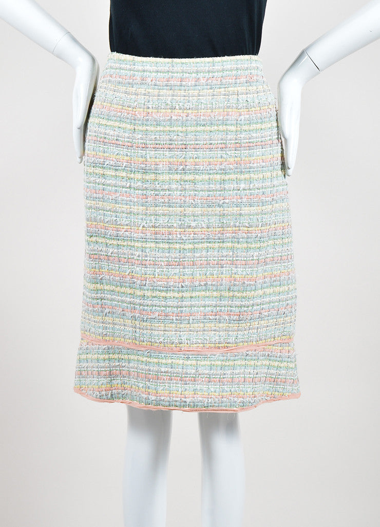 Multicolor Pastel Chanel Silk Blend Ribbon Skirt Frontview