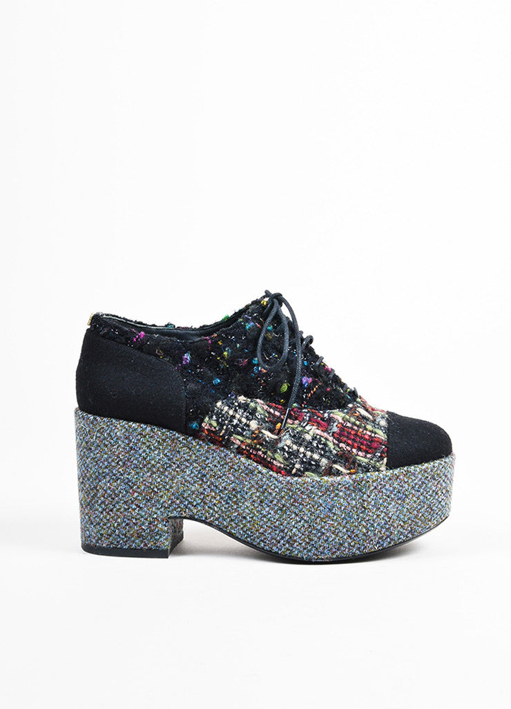 Chanel Black and Multicolor Tweed and Boucle Lace Up Platform Shoes Sideview