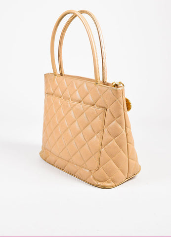 "Chanel Beige Quilted Caviar Leather 'CC' Logo ""Medallion Tote"" Bag Sideview"