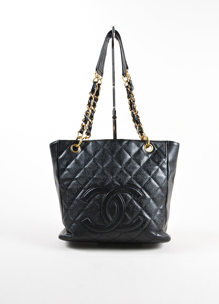 "Chanel Black Caviar Leather ""CC"" ""Petite Shopper"" Chain Strap Tote Bag Frontview"
