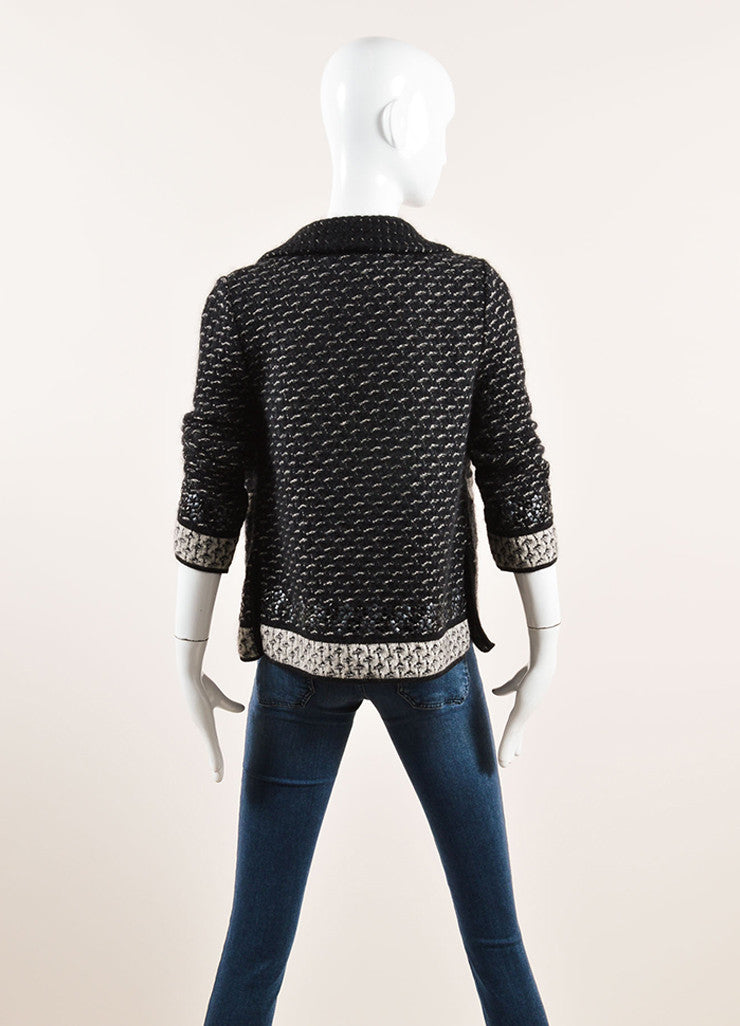 Chanel Black and Grey Mohair, Silk, and Cashmere Embellished Tweed Sweater Jacket Backview