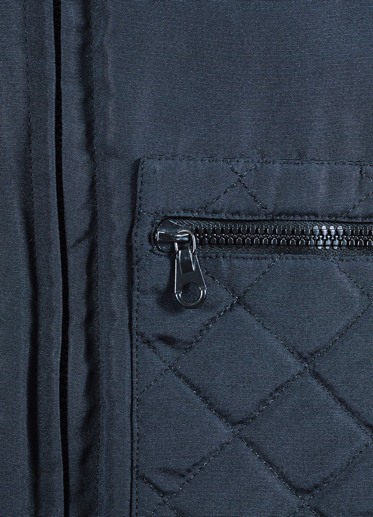 Men's Black Chanel Nylon Quilted Cropped Bomber Jacket Detail