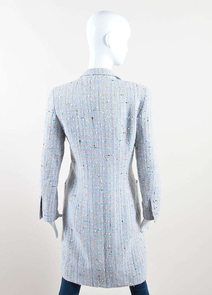 "Chanel Light Blue and Multicolor Wool and Cotton ""CC"" Button Tweed Coat Backview"