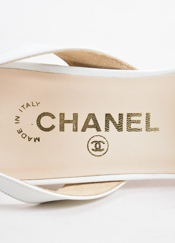 White and Gold Toned Chanel Leather Strappy Logo Plate Slingback Sandals Brand