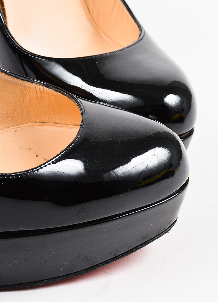 "Christian Louboutin Black Patent Leather ""Bianca"" Platform Pumps Detail"