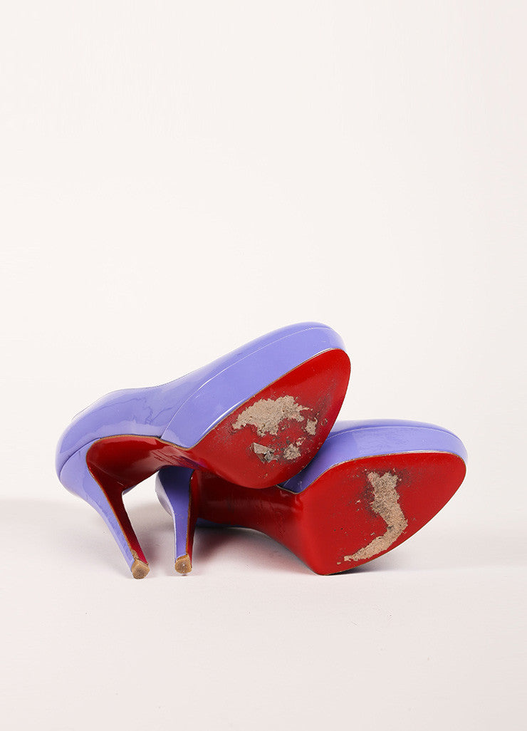 "Christian Louboutin Lavender Patent Leather ""Bianca 140"" Platform Pumps Outsoles"