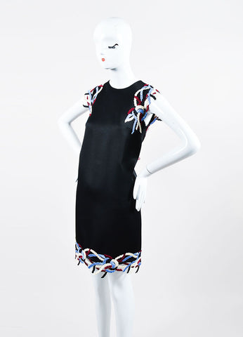 Black and Multicolor Christopher Kane Satin Sleeveless Shift Dress Sideview