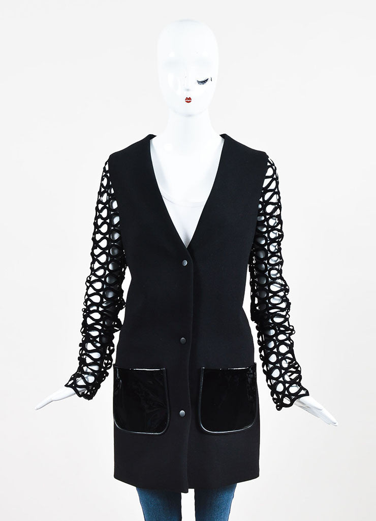 David Koma Black Wool Patent Leather Cut Out Sleeve Jacket Frontview 2