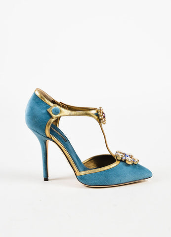 Dolce & Gabbana Blue Velvet & Leather Embellished T Strap Pump Side