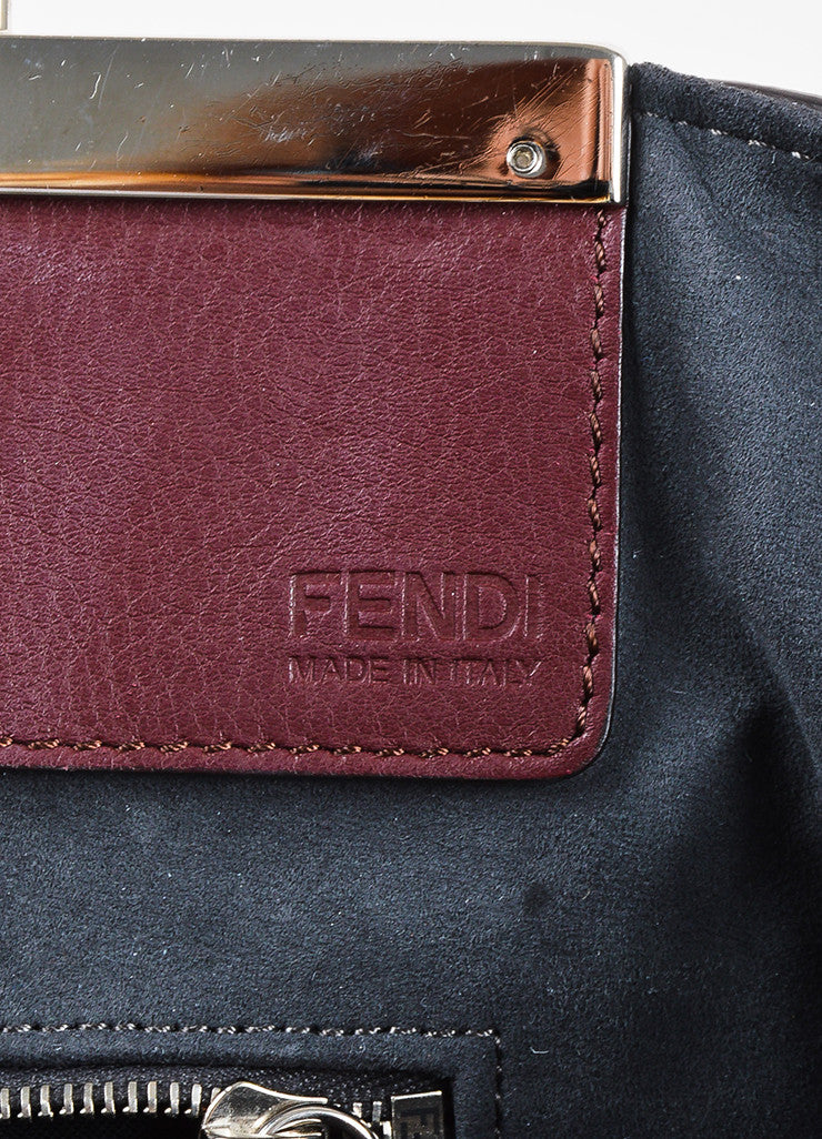 "Fendi Maroon Textured Leather Top Handle ""3 Jours"" Medium Trapeze Tote Bag Brand"