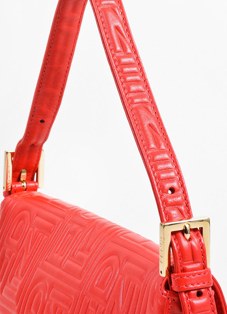 Red Fendi Leather Embossed Baguette Bag Detail 2