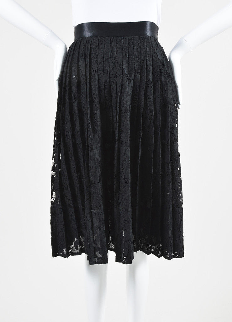 Black Givenchy Floral Lace Satin Trim Pleated Midi Skirt Frontview