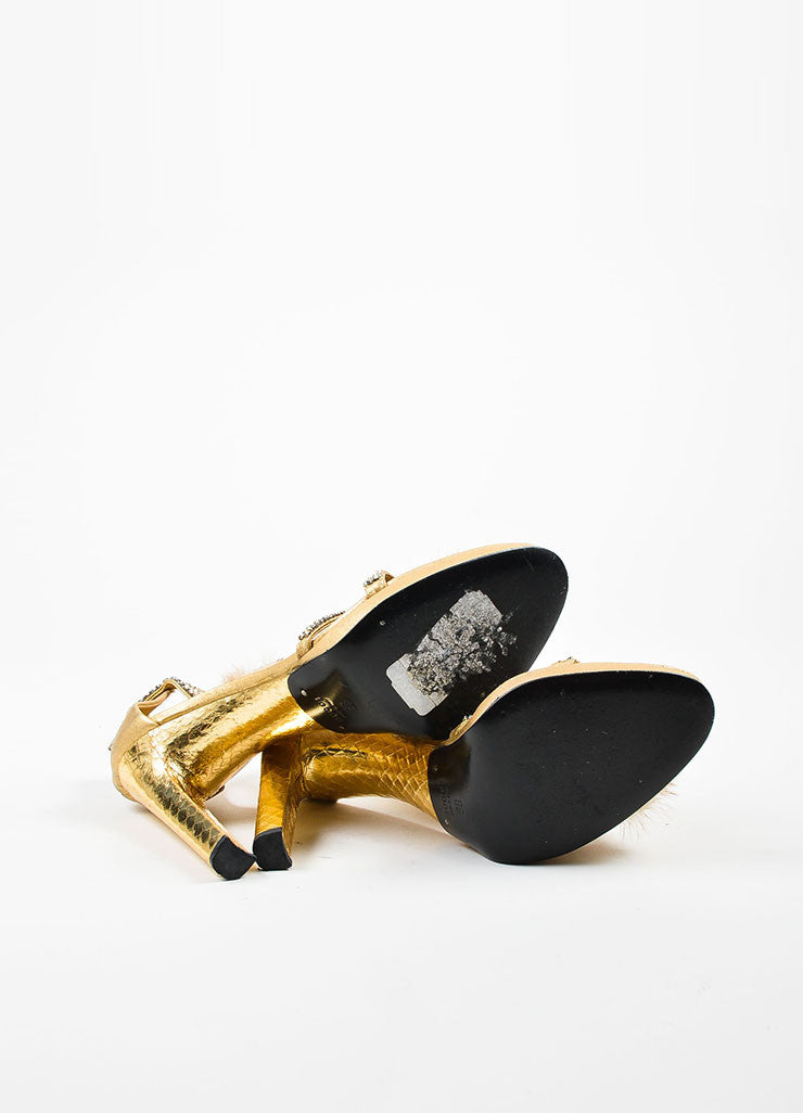 Gucci Metallic Gold Leather Mink Fur Embellished T-Strap Heel Sandals Outsoles