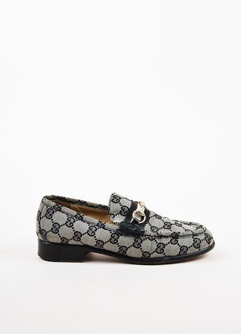 Gucci Black and Grey Monogram 'GG' Canvas Silver Horsebit Buckle Loafers Sideview