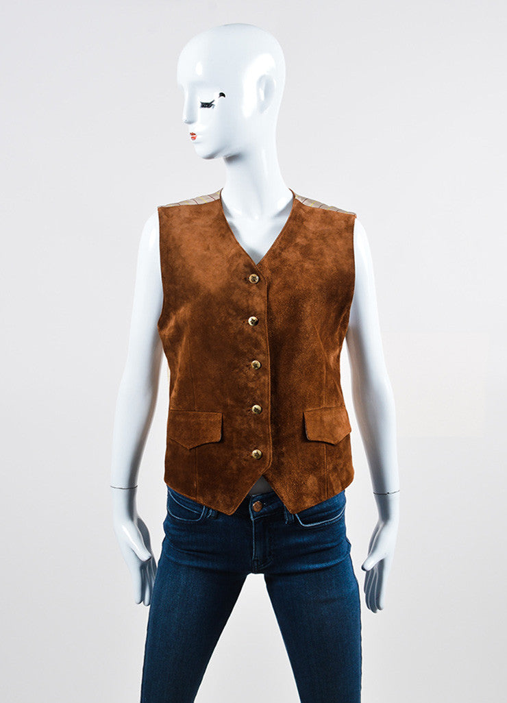 Brown Hermes Suede Leather and Satin Plaid Button Up Vest Frontview