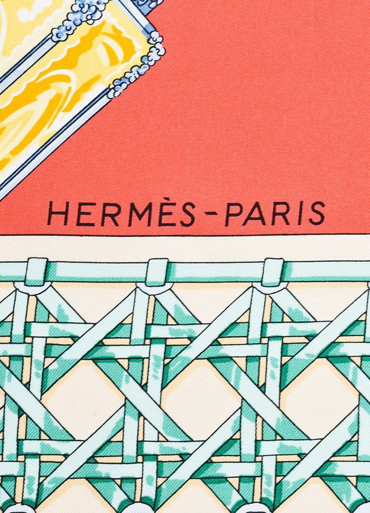 "Hermes Coral and Multicolor Silk ""Feux de Route"" Lamp Print 90cm Square Scarf Brand"