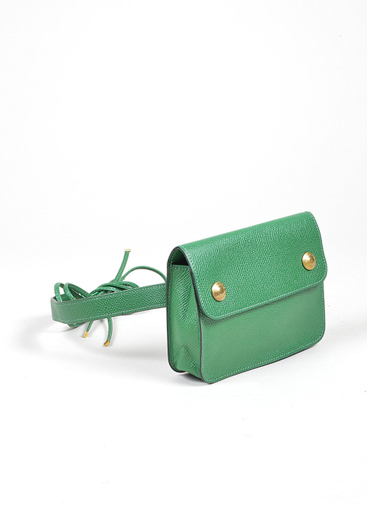 Green Hermes Leather Pouch Tie Snap Fanny Pack Small Belt Bag Sideview
