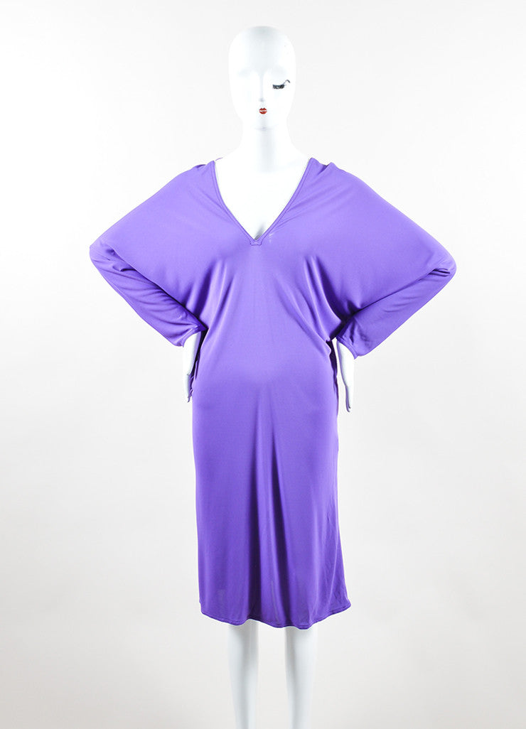 Hermes Purple Jersey V-Neck Dolman Sleeve Dress Frontview