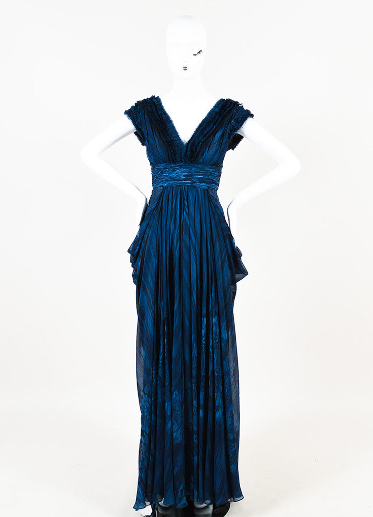 J. Mendel Navy and Black Silk Watercolor Print Ruffle Pleated Sleeveless Gown Frontview