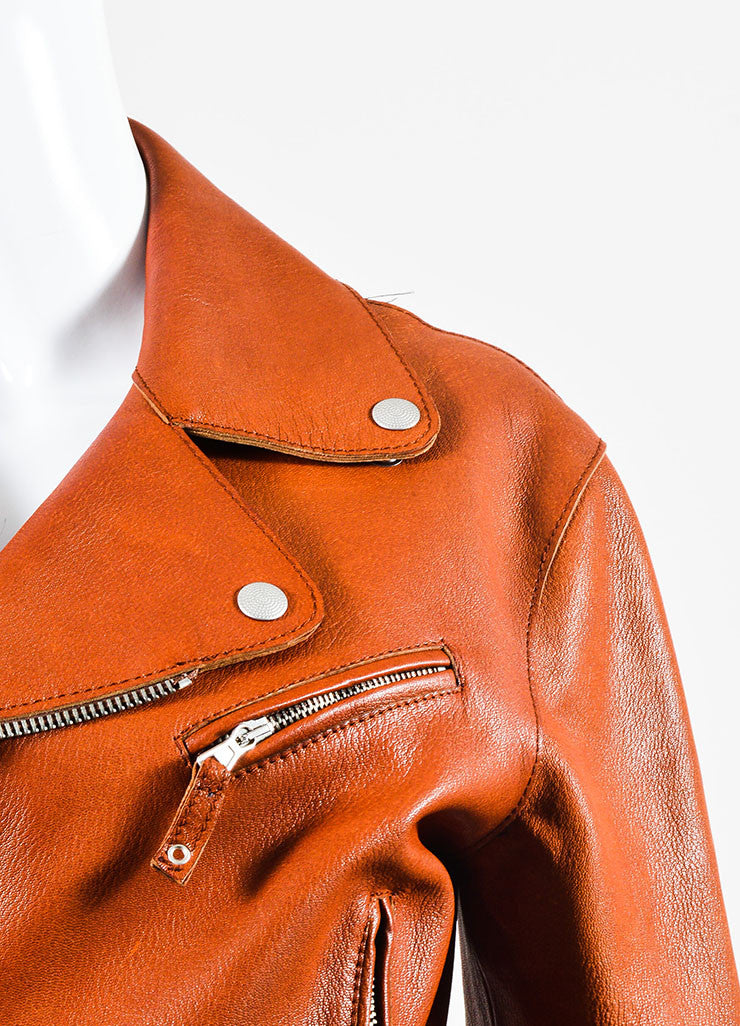 Cognac Jean Paul Gaultier Leather Belted Moto Jacket Detail