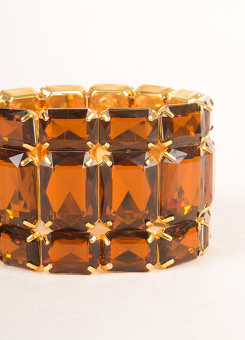 KJL by Kenneth Jay Lane Gold Toned and Brown Topaz Rhinestone Stretch Bracelet Detail