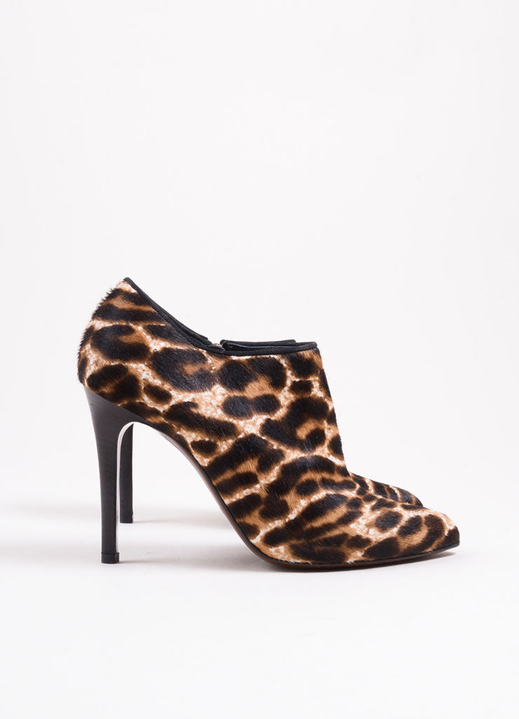 Lanvin Brown and Cream Pony Hair Leopard Print Pointed Toe Booties Sideview