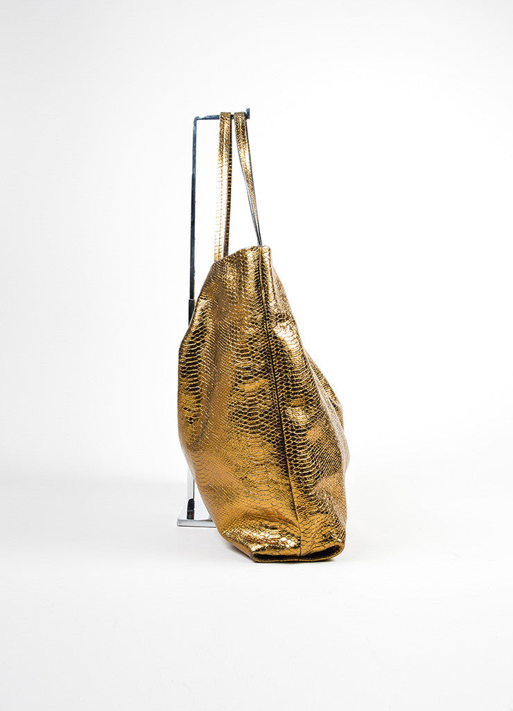 "Metallic Gold Lanvin Leather Python Embossed North South ""Carry Me"" Tote Bag Sideview"