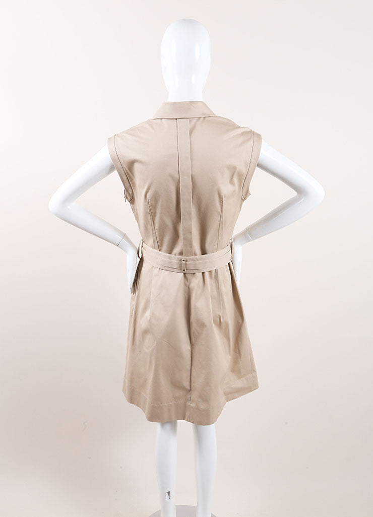 Lela Rose New With Tags Tan Khaki Pleated Belted Sleeveless Dress Backview