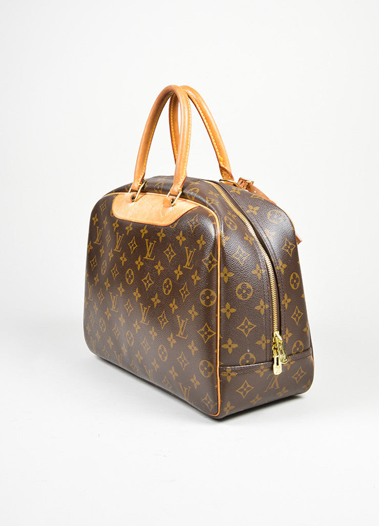 Brown Louis Vuitton Monogram Canvas Top Handle Satchel Side