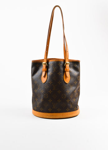 "Brown Louis Vuitton Coated Monogram Canvas Leather ""Petit Bucket"" Bag Front"