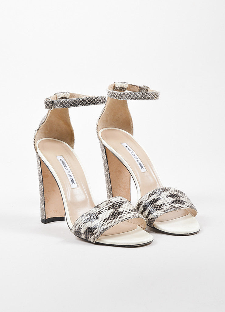 "Manolo Blahnik White and Black Snakeskin Chunky Heel ""Lauratopri"" Sandals Frontview"