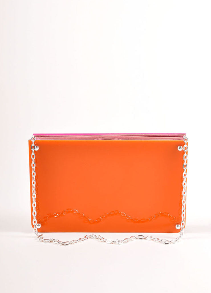 Overture Judith Leiber Orange and Pink Color Block Panel Chain Strap Clutch Bag Frontview
