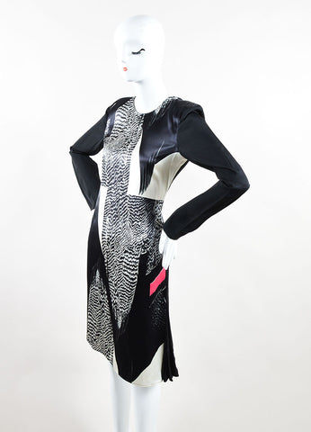 Reed Krakoff Black and White Printed Asymmetric Long Sleeve Shift Dress Sideview