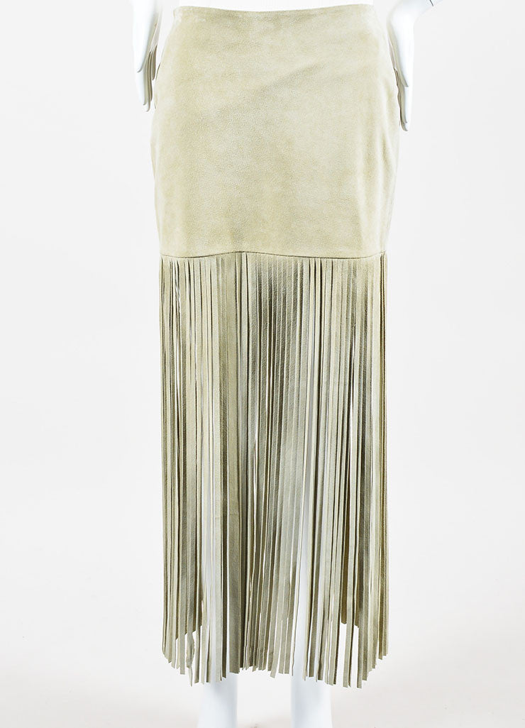 "Sand Beige The Perfext Suede Leather ""Mimi 24"" Fringe Midi Skirt Frontview"