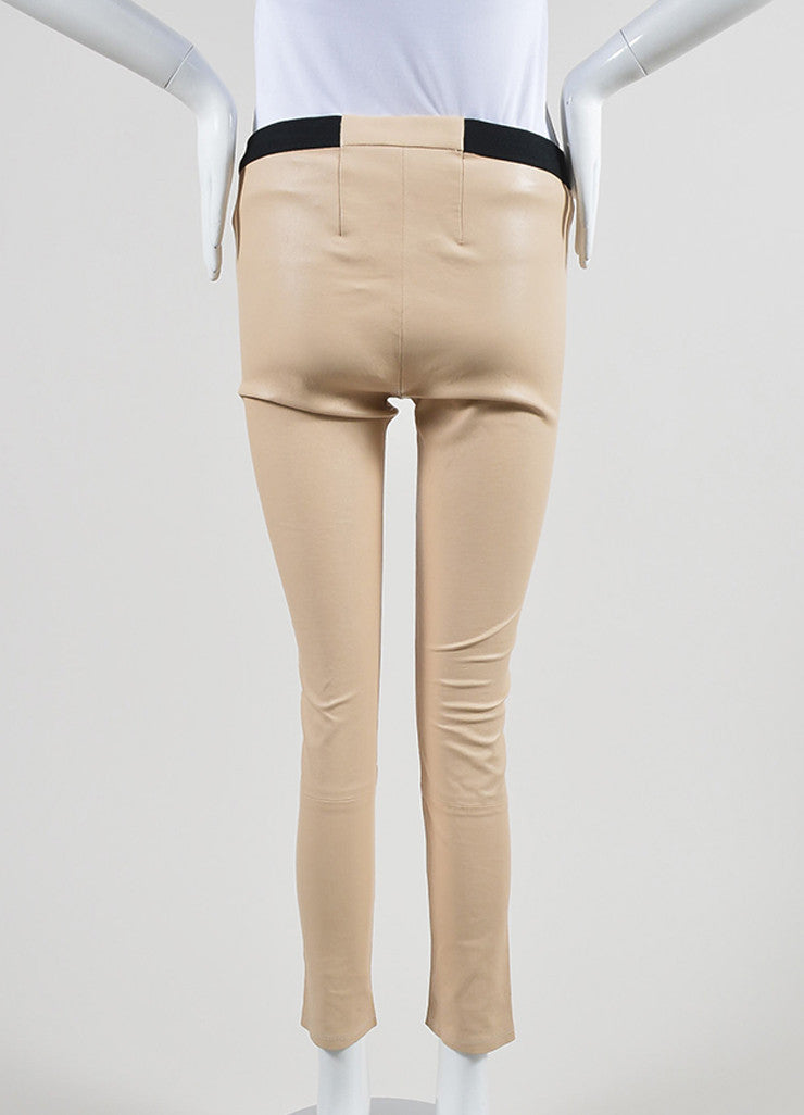 The Perfext Nude Beige and Black Leather Skinny Legging Pants Backview