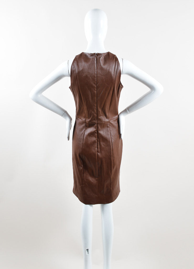 The Row Brown Leather Sleeveless Sheath Dress Back