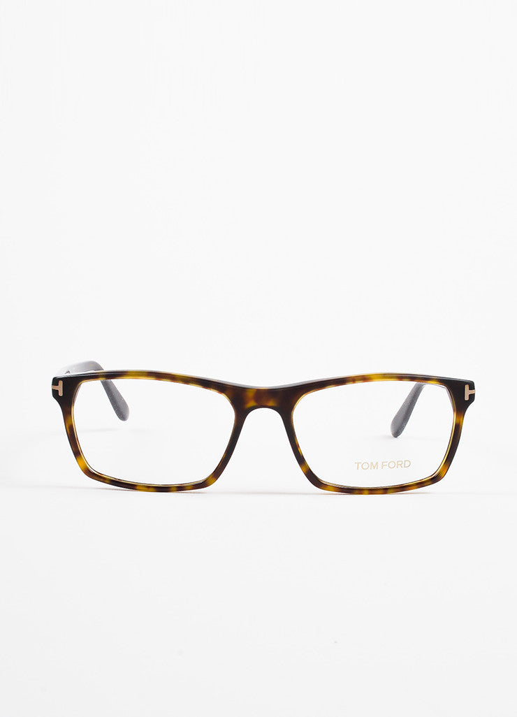 Tom Ford Black, Brown, and Yellow Square Frame Optical Eyeglasses Frontview