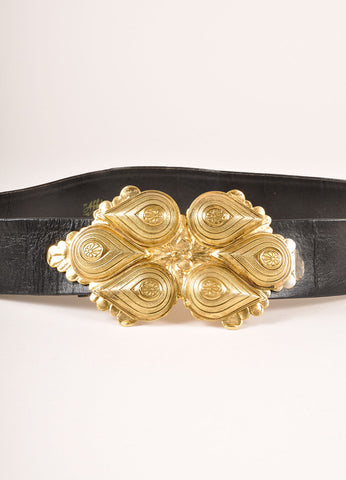 Abbi Creation Black and Gold Toned Leather Paisley Tear Drop Buckle Belt Detail