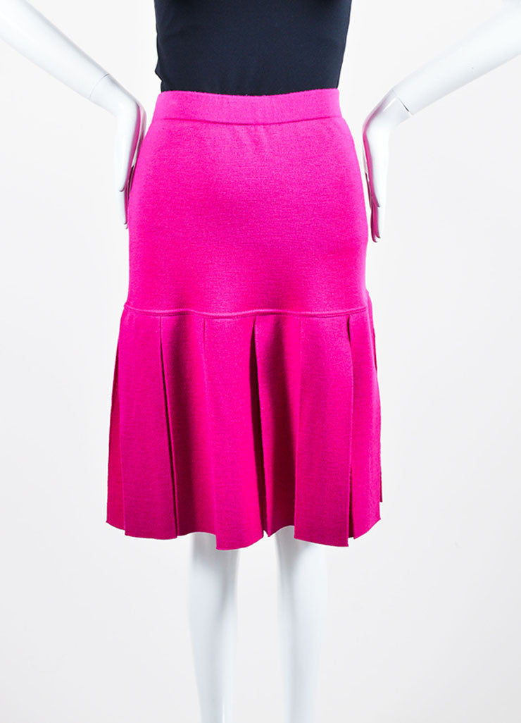 Magenta Pink Chanel Wool Knit Pleated Knee Length Skirt Frontview