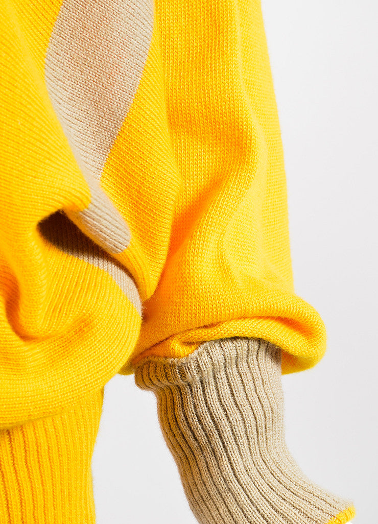 Mustard Yellow and Tan Issey Miyake Chunky Turtleneck Sweater Detail