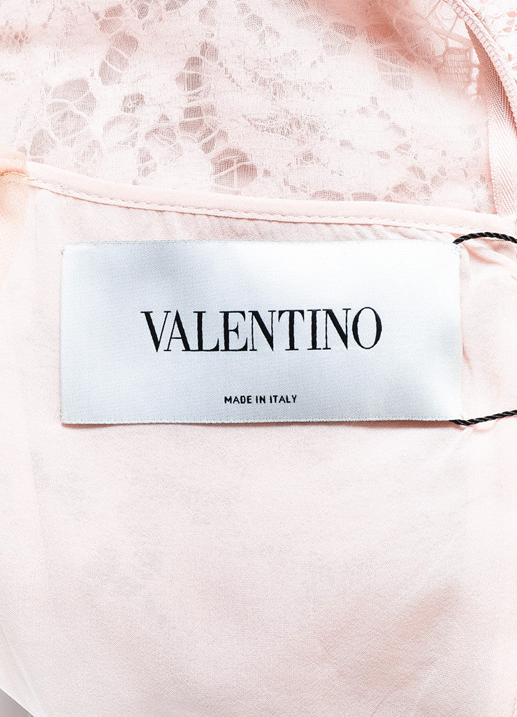 Valentino Light Pink Lace Sleeveless Scalloped Edge Fit Flare Dress