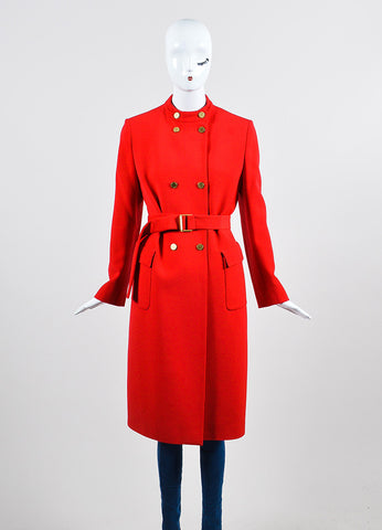 Red Valentino Roma Woolen Double Breasted Belted Trench Coat  Frontview