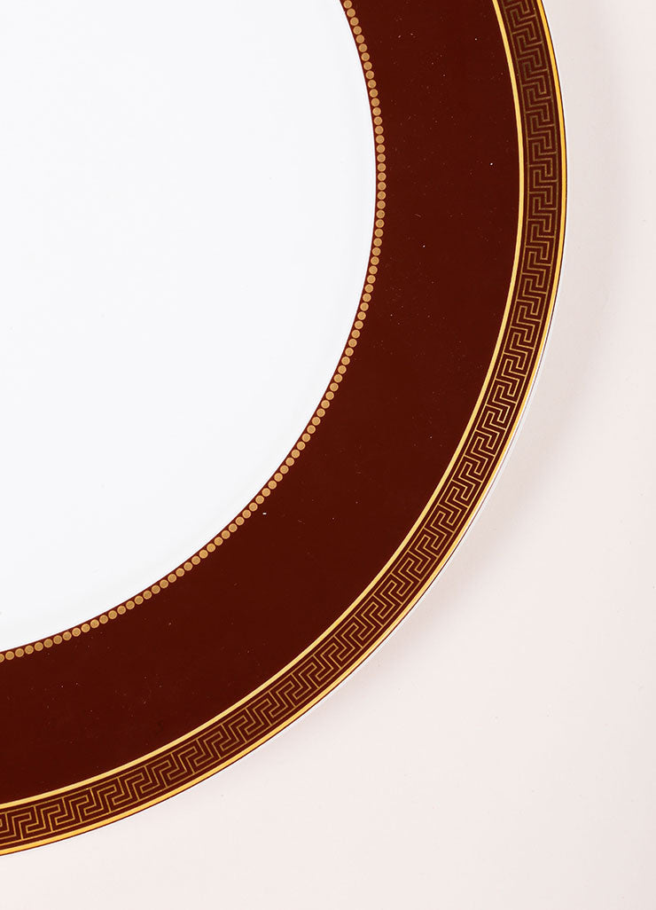 "Versace Rosenthal Brown and Gold Toned ""Medallion Meandre Marron"" 12 inch Service Plate Detail"