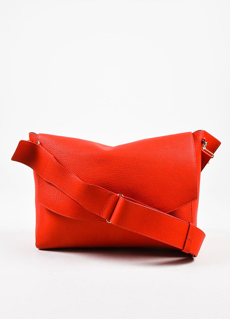 Crimson Red Victoria Beckham Calf & Lambskin Soft Shoulder Bag Front