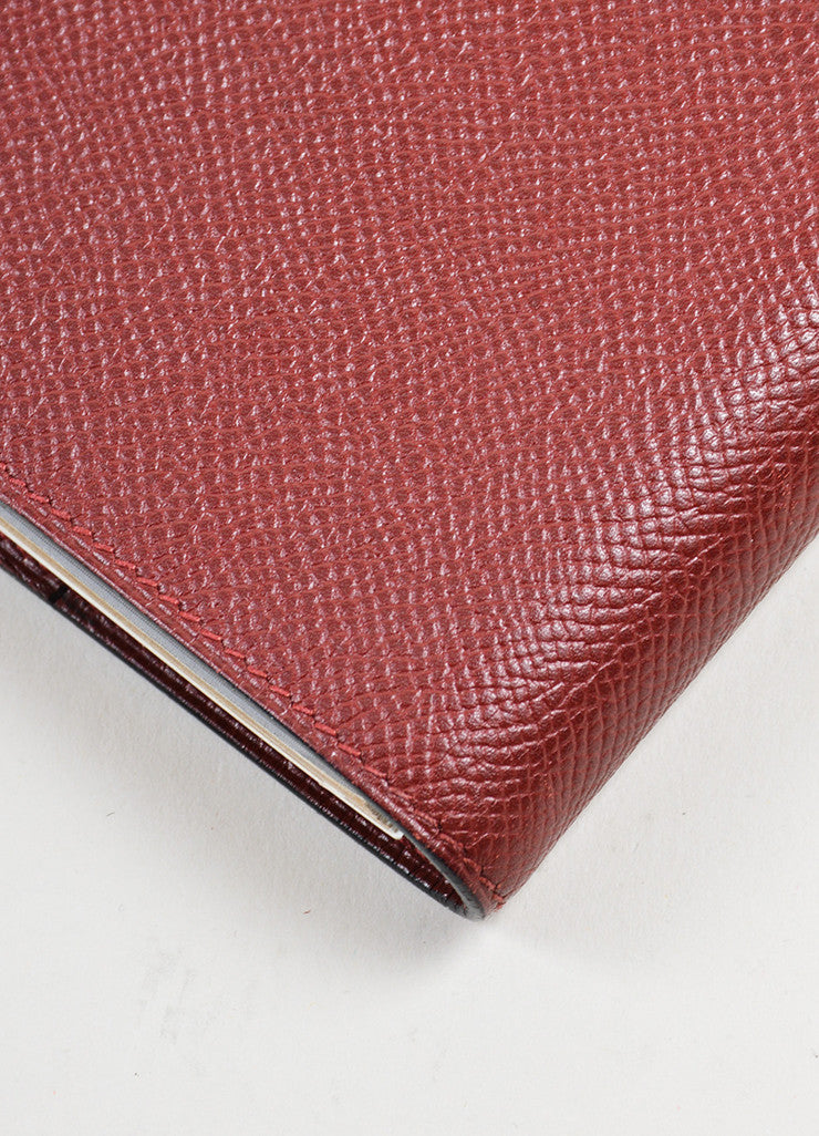 "Burgundy Red Hermes Large ""Globetrotter"" Leather Agenda Planner Address Book Detail"