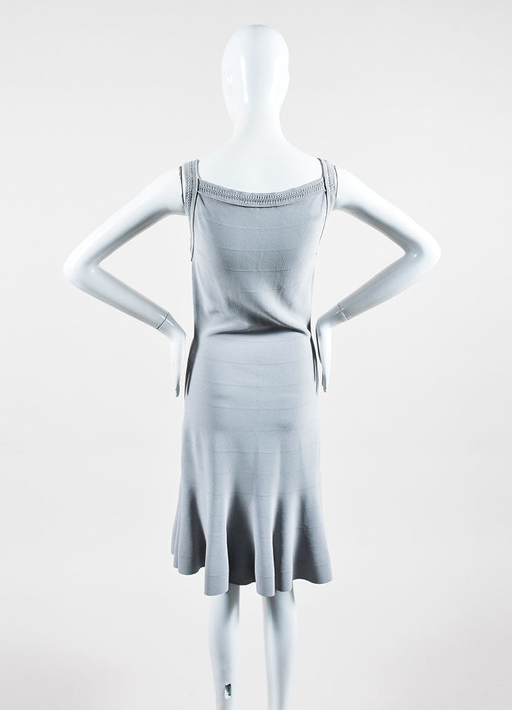 Grey Alaia Sleeveless Fit and Flare Dress Back